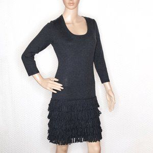 Calvin Klein Grey Sweater Dress with Fringe